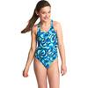Zoggs Tie Marbling Rowleeback Swimsuit Girls Blue/Multi